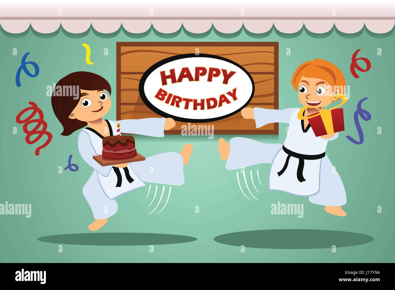 eine vektor illustration der kinder geburtstag party banner mit taekwondo thema vektor abbildung. Black Bedroom Furniture Sets. Home Design Ideas