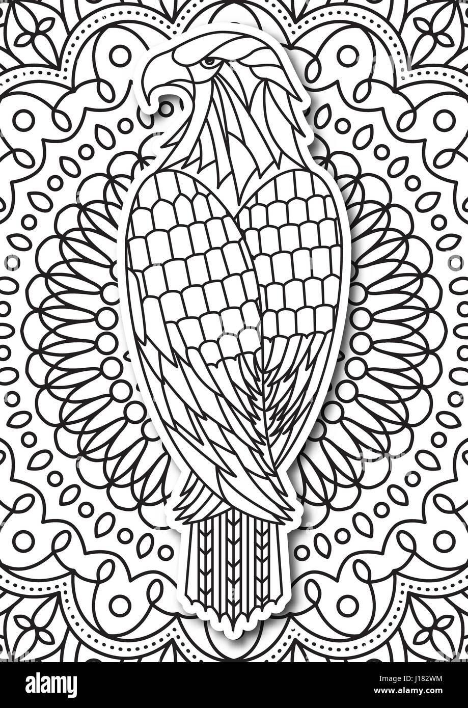 Adler Malvorlagen Für Erwachsene Im Ethno Stil Vektor Hand