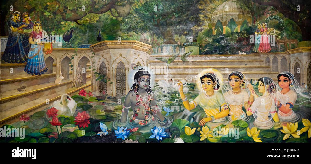 Radha Krishna Malerei, Mathura, Uttar Pradesh, Indien, Asien Stockbild