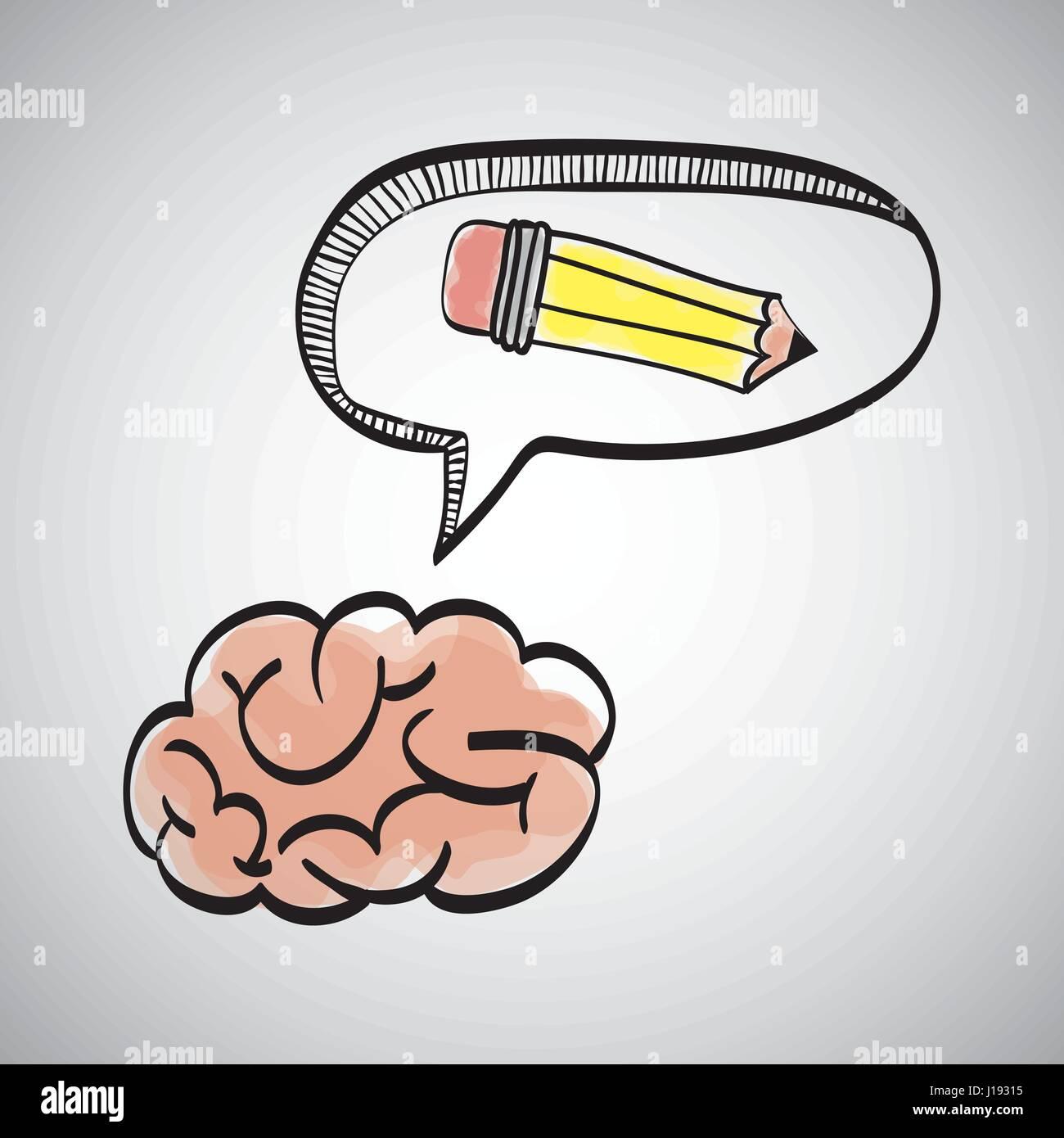 Idee Design. Skizziersymbol. Weißer Hintergrund, Vektor Stockbild