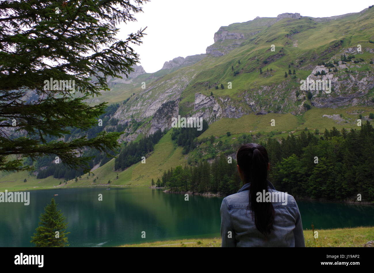 eine Mädchen hinter sitzen und schauen Weg zum See von Alpen Berge Stockbild