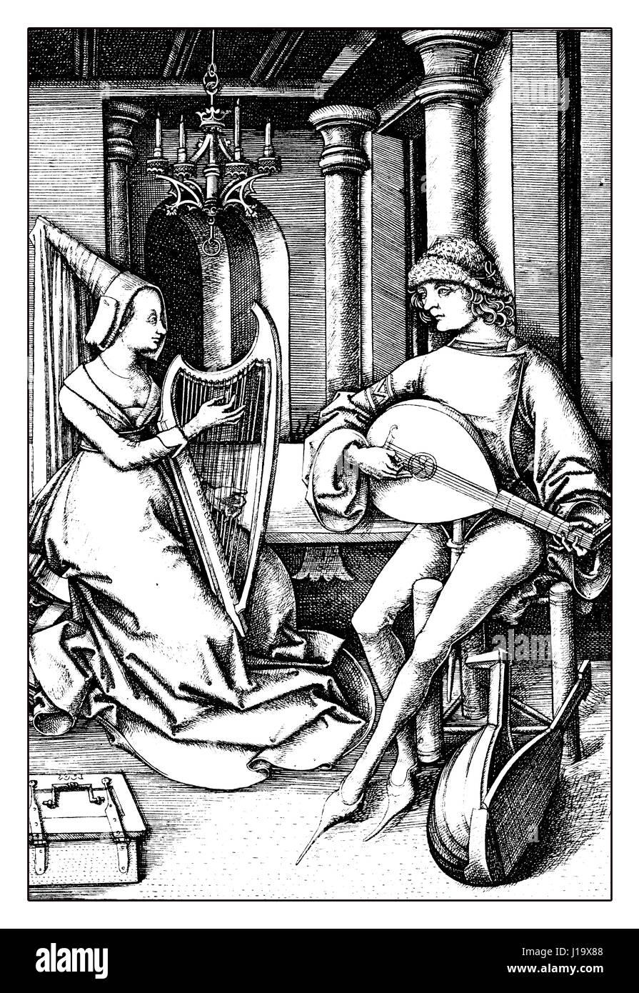 Musik zu Hause, XV Jahrhundert Lifestyle und Freizeit Stockbild