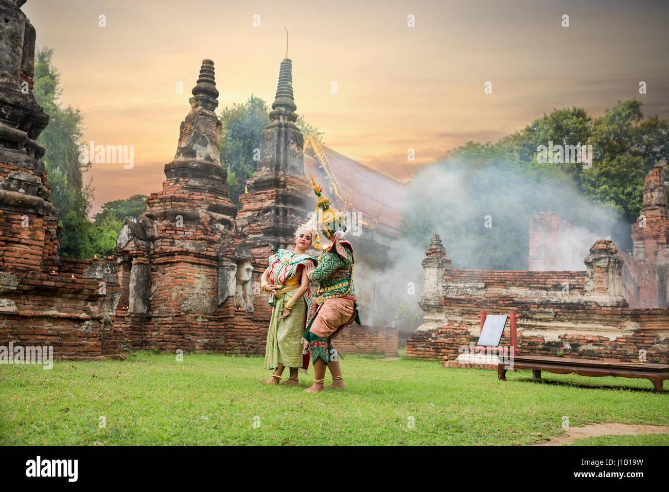 TOS-Sa-Kan und Sida sind Zeichen in der thailändischen Literatur zum Ramayana. Stockbild
