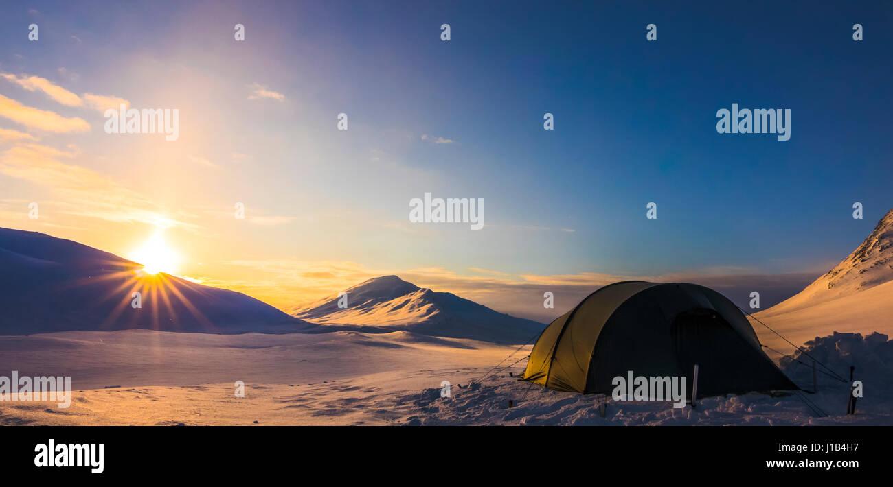 Camping im Sarek Stockbild