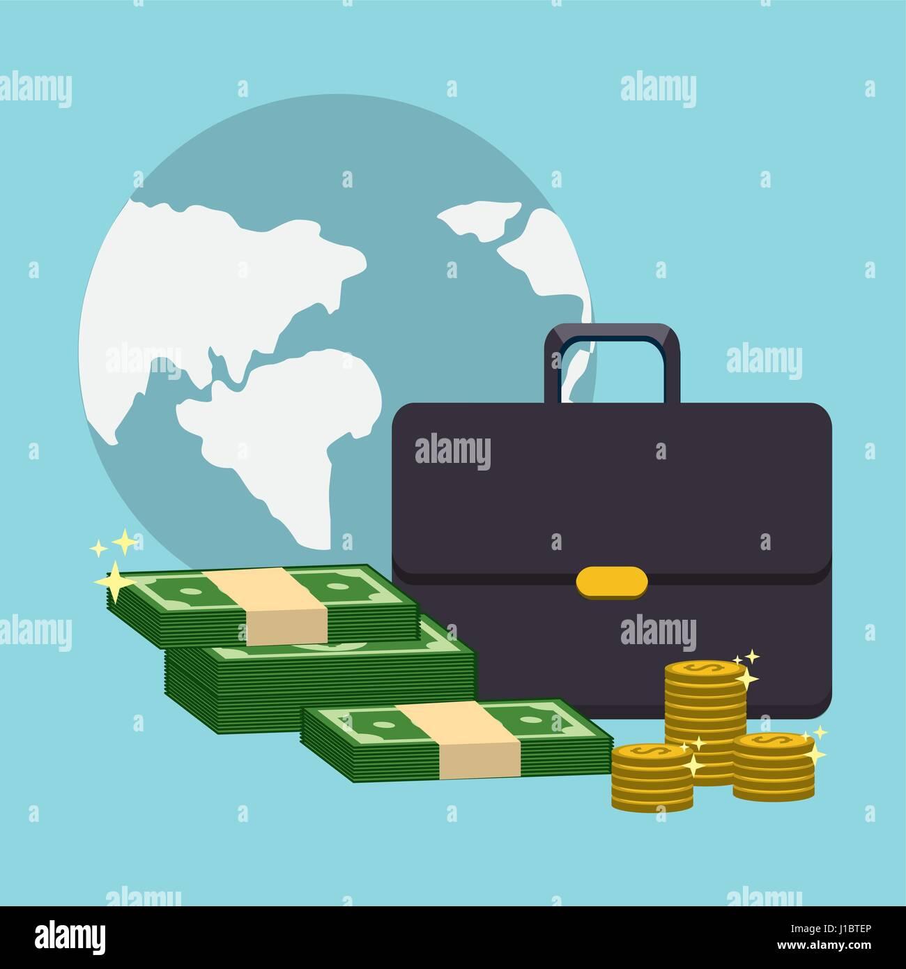 Global mit Koffer und grüne Bill und Münzen Stockbild
