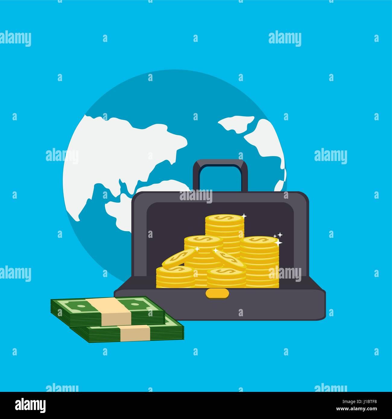 Global mit grünen Bill und Münzen innerhalb der Koffer Stockbild