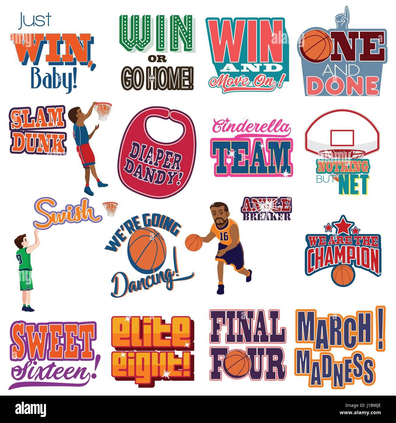 Eine Vektor-Illustration von College Basketball Turnier Symbole ...