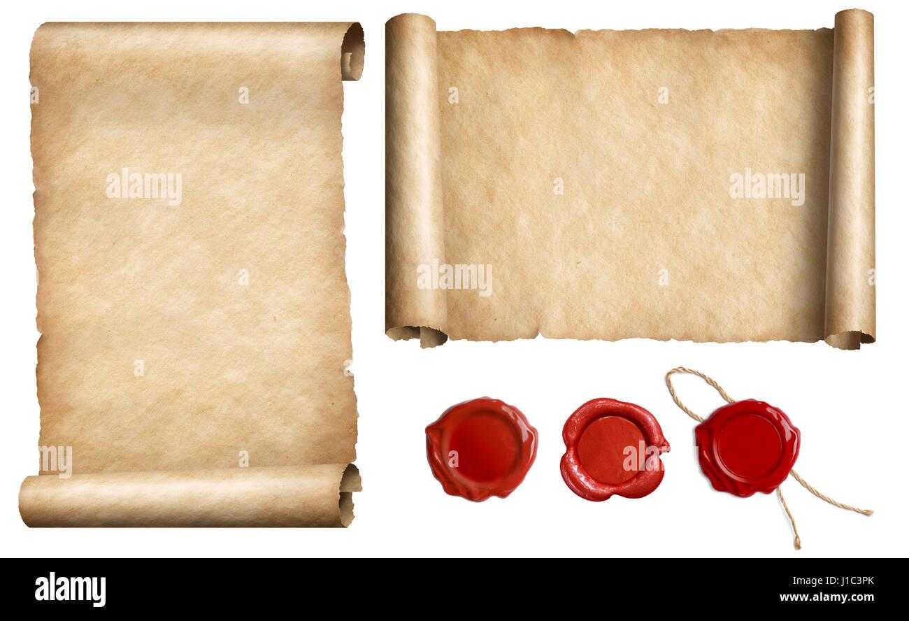 Brief Mit Kerzenwachs Versiegeln : Alten brief papier pergamente mit wachs versiegeln