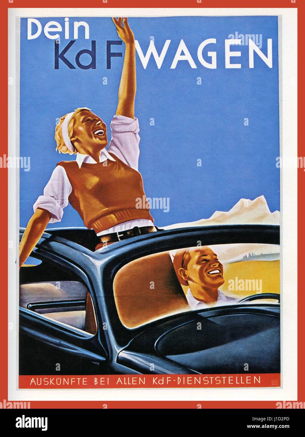 propagandaplakat 1930er jahren deutschland volkswagen mit kraft durch freude kdf wagen kraft. Black Bedroom Furniture Sets. Home Design Ideas