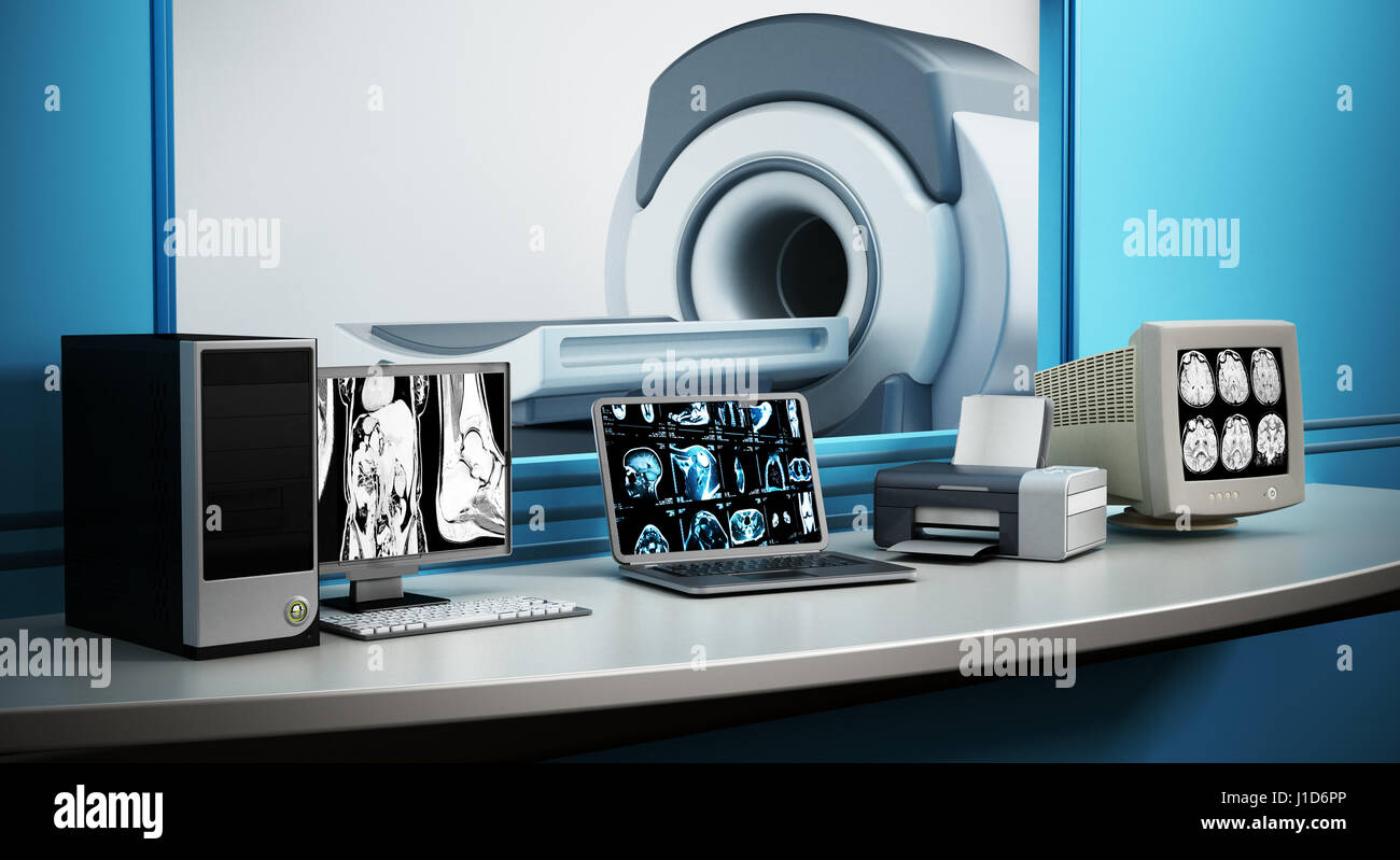 Magnet-Resonanz-Tomographie MRT-Gerät und Computer-Systeme. Stockbild