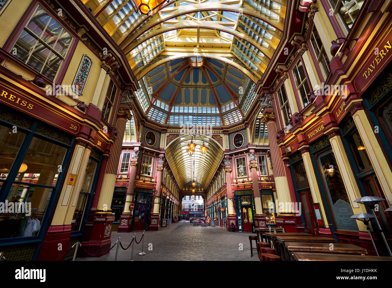 Leadenhall Market in London. Es ist einer der ältesten Märkte in London, aus dem 14. Jahrhundert. Stockbild