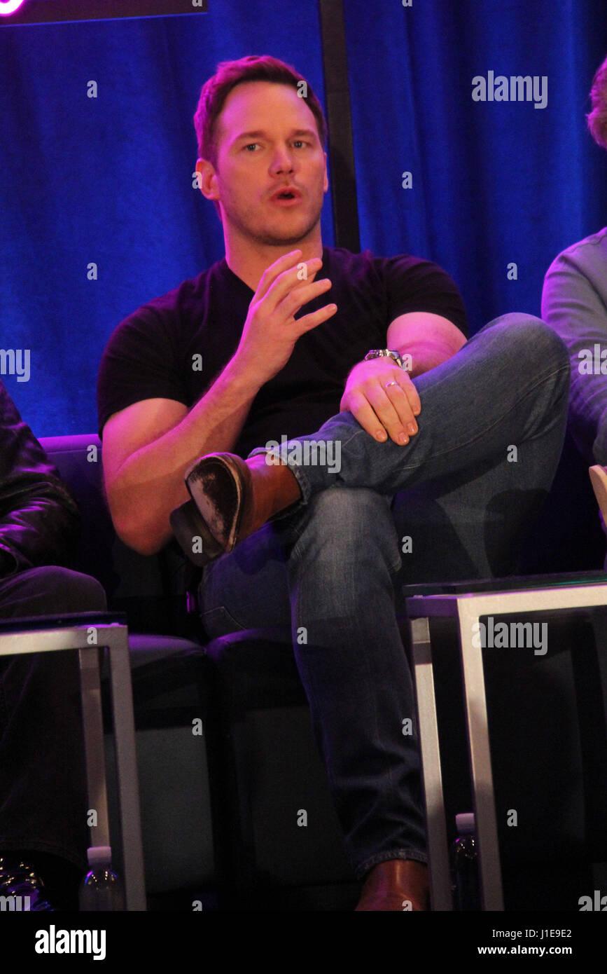 "Los Angeles, USA. 20. April 2017. Chris Pratt 20.04.2017 ""Hüter der Galaxie Vol. 2"" Pressekonferenz im The London Stockfoto"