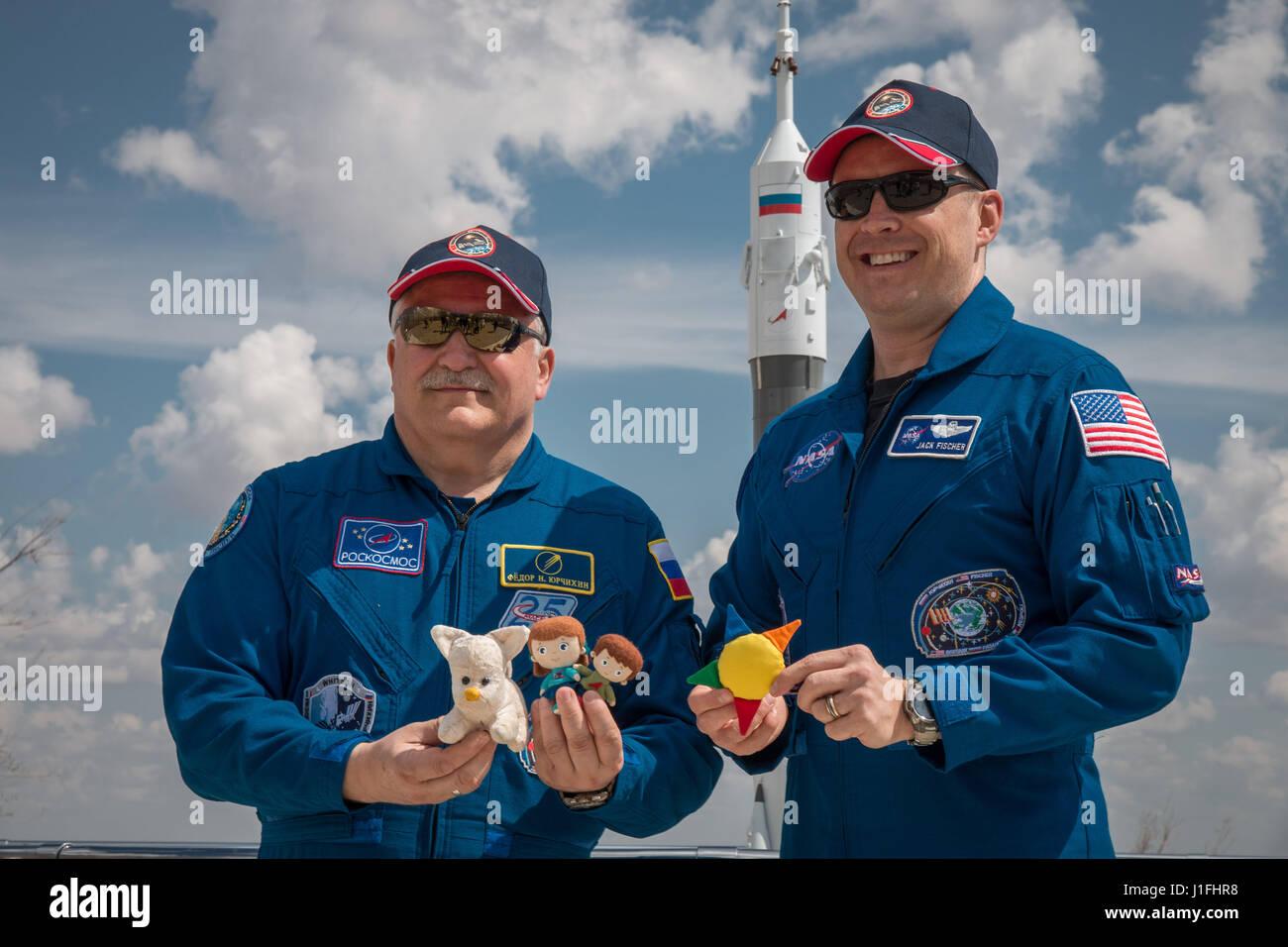 NASA internationale Raumstation Expedition 51 Sojus MS-04 Mission prime Crew Mitglieder russischen Kosmonauten Fyodor Stockbild