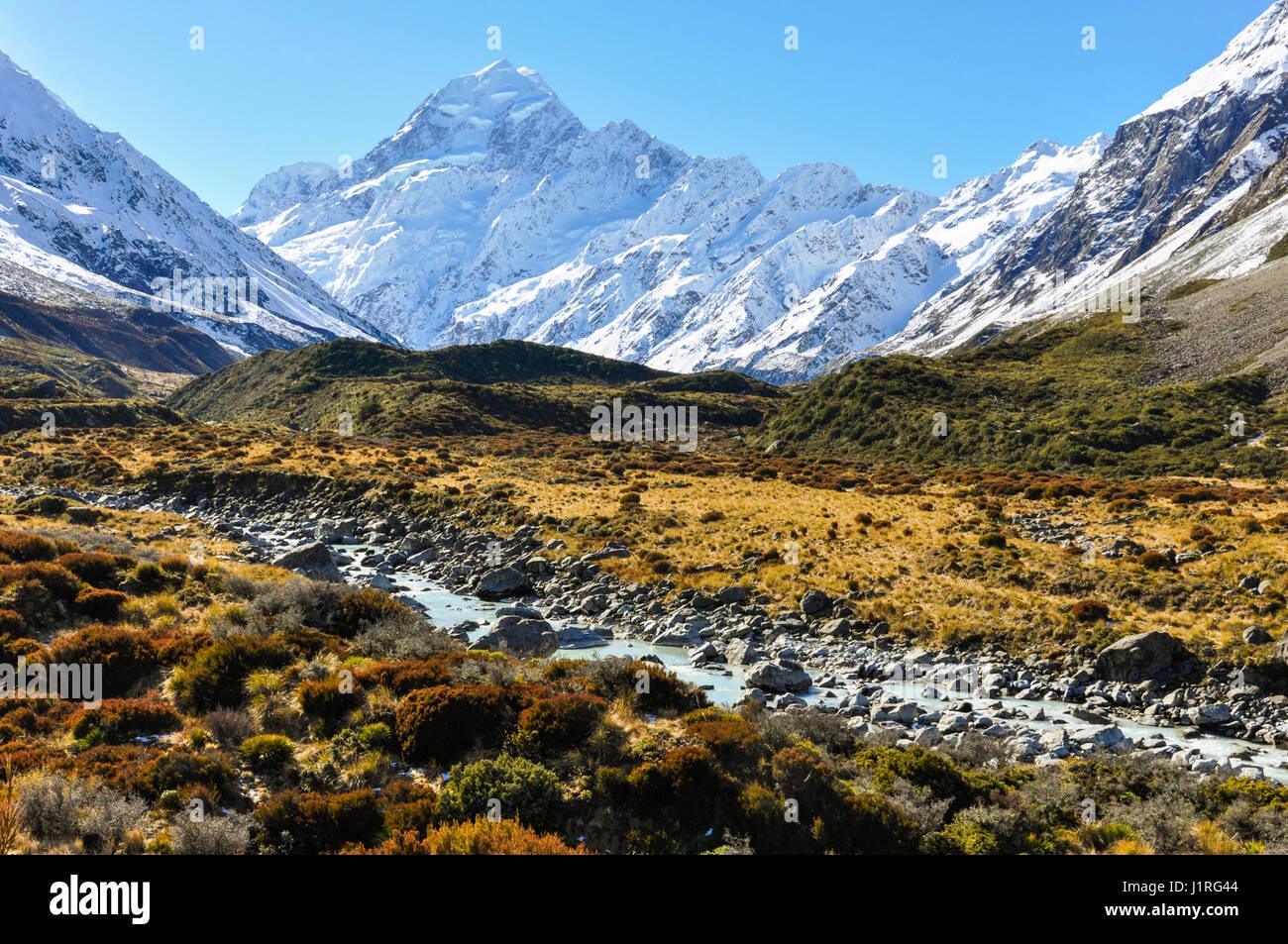 Hooker Valley in der Aoraki/Mount Cook National Park, Neuseeland Stockfoto