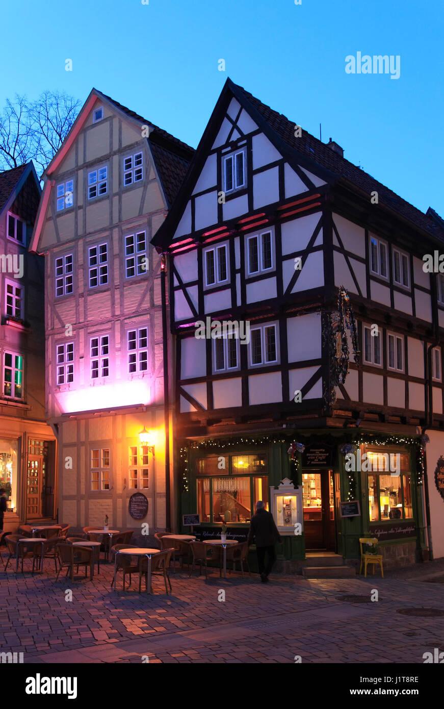 7-Häuser Cafe ZUM ROLAND, Quedlinburg, Sachsen-Anhalt, Deutschland, Europa Stockbild