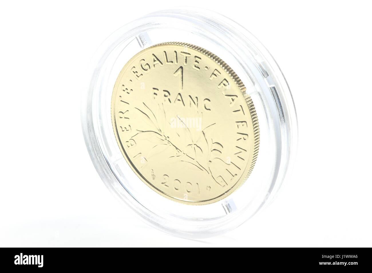 Gold Sonderausgabe Der Französischen 1 Franc Münze Isoliert Auf