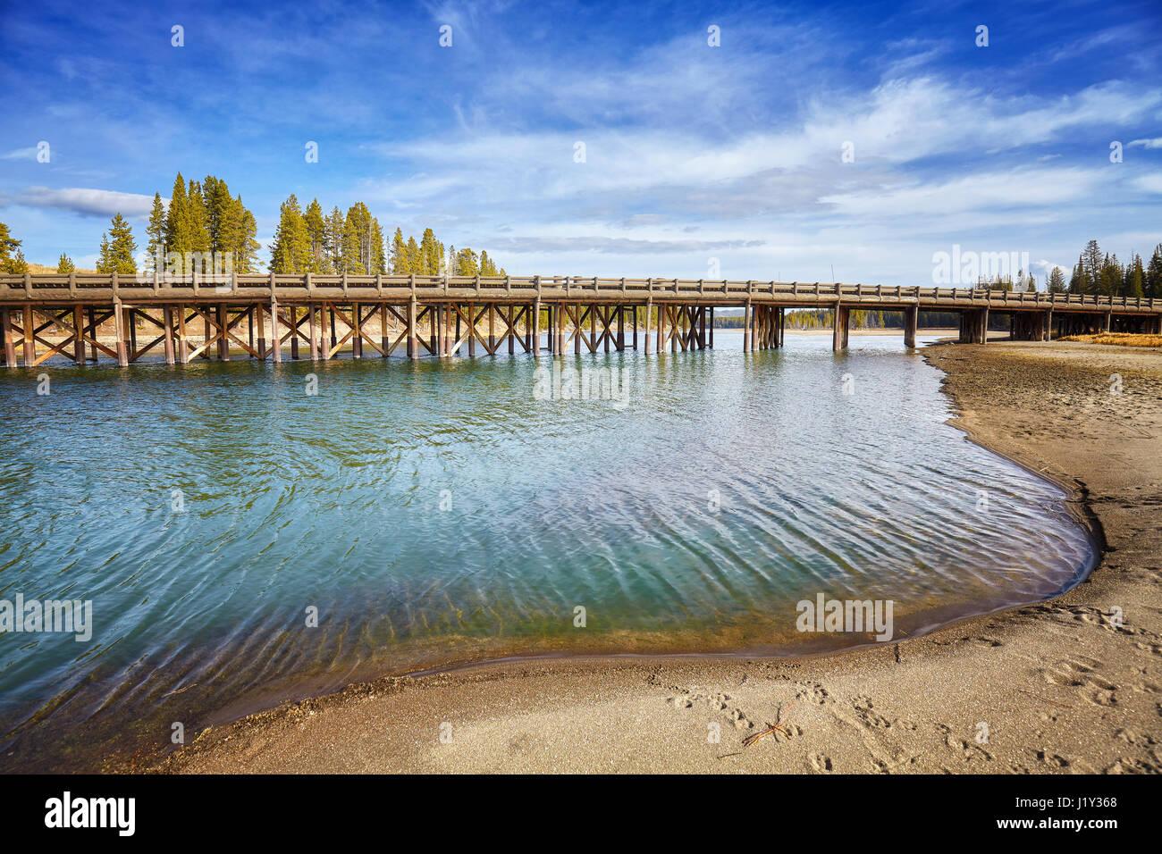 Angeln-Brücke im Yellowstone-Nationalpark, Wyoming, USA. Stockfoto