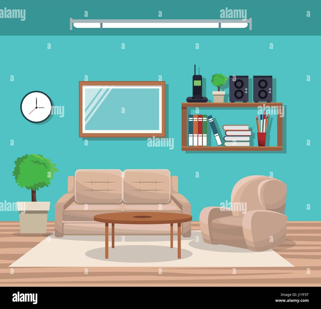 Lieblich Wohnzimmer Mit Sofa Stuhl Topf Baum Telefon Bücherregal Spiegel Tisch