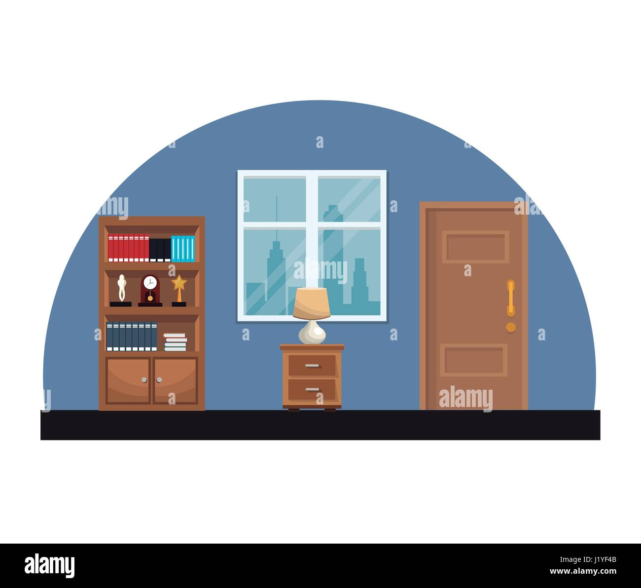Zimmer Innen Bücherregal Enzyklopädie Uhr Trophäe Fenster  Und Türrahmen