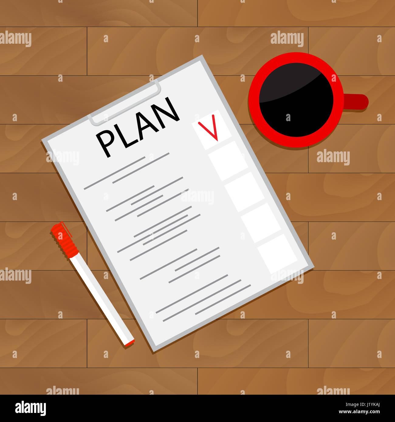 Planen von Aufgaben Draufsicht. Organisieren Sie Checkliste Projekt ...