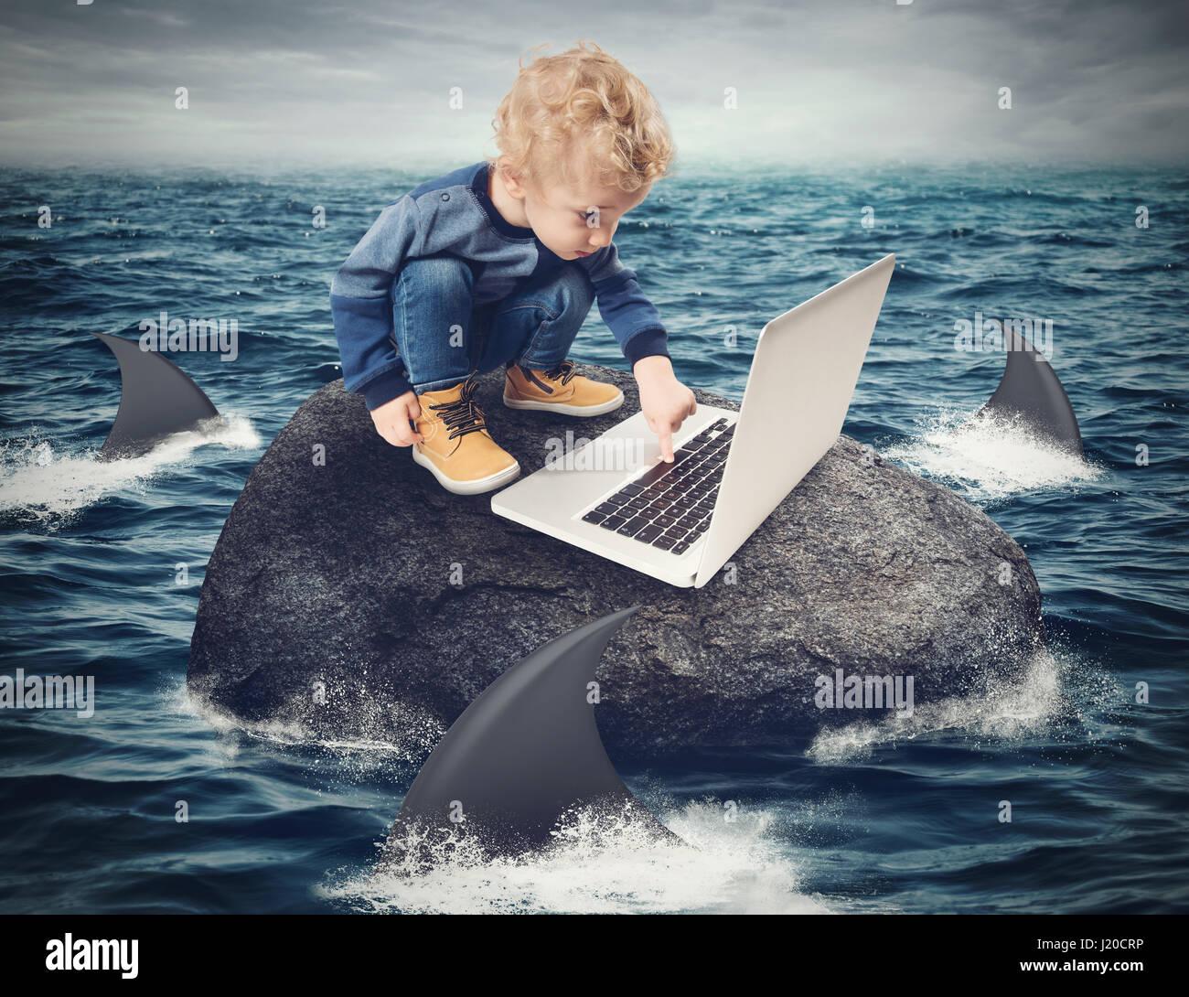 Schwierigkeit-Internet-Konzept Stockbild