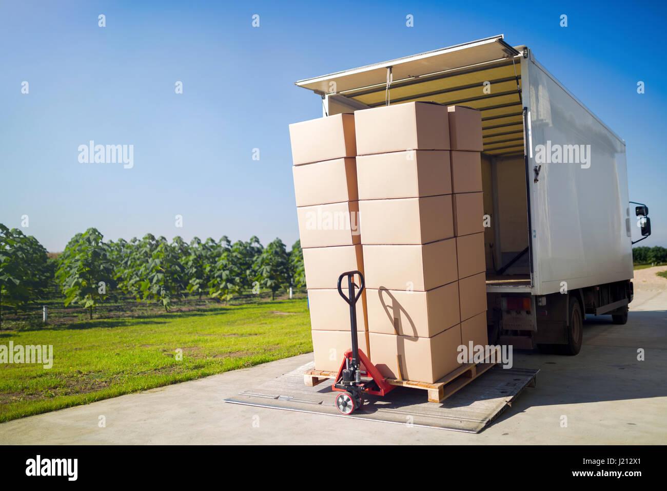 LKW-Transport von Gütern verpackt in Kartons aus Lager Stockfoto