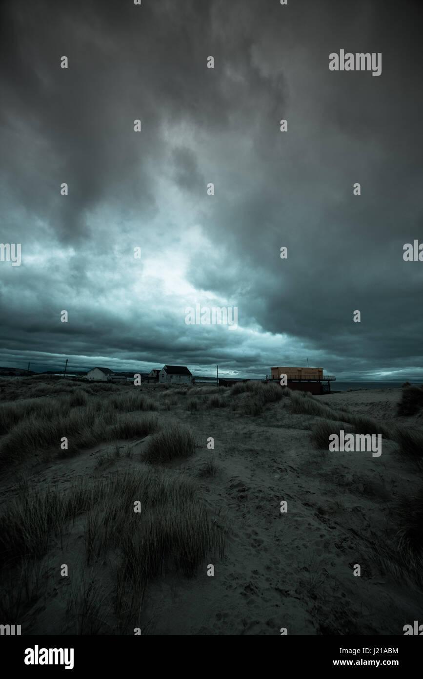 Dramatische und einsamen Dünen, POrthcawl, South Wales U.K Stockbild