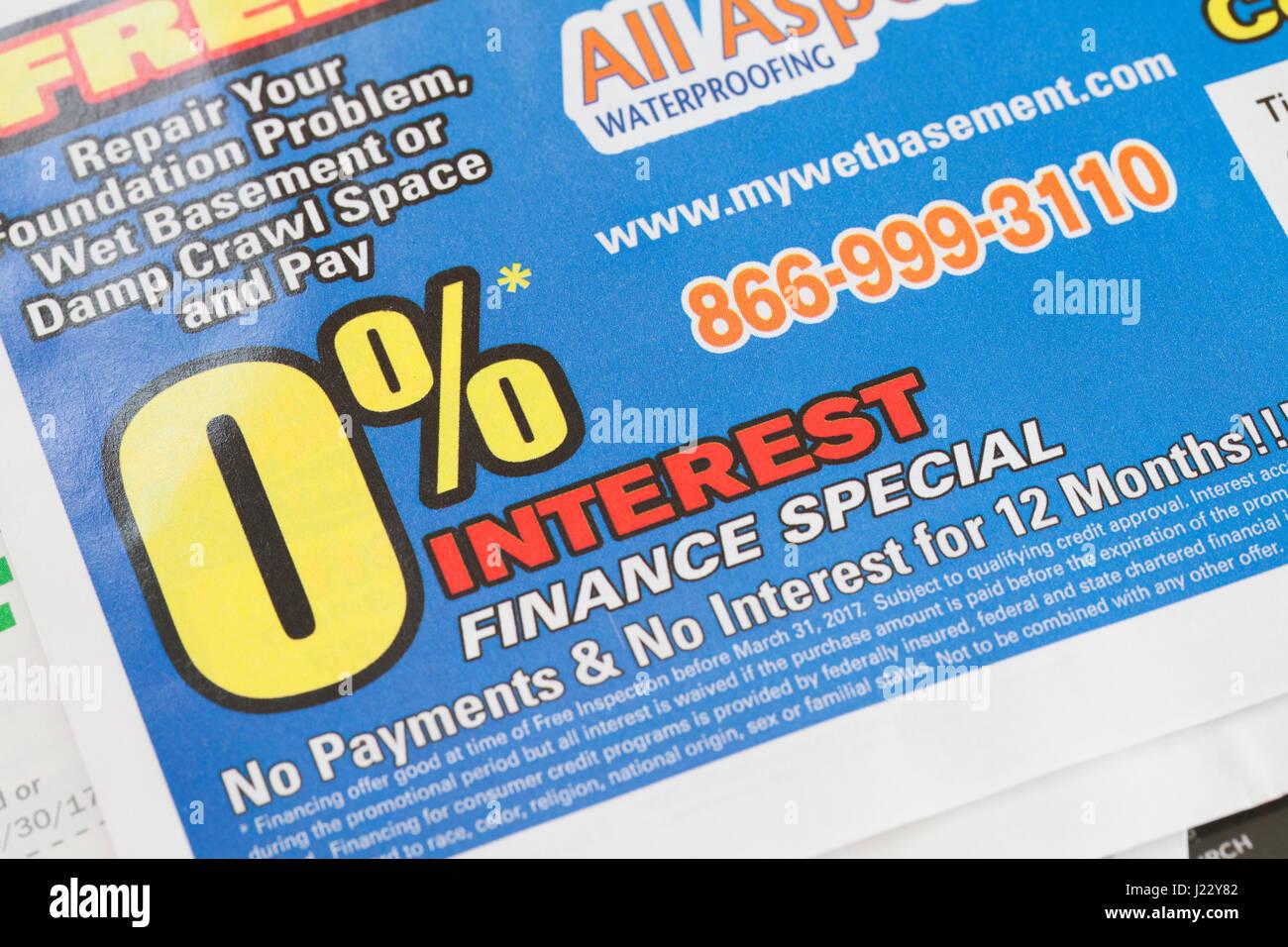 Zinssatz von 0 % Finanzierung Anzeige für Hauswartungen - USA Stockfoto