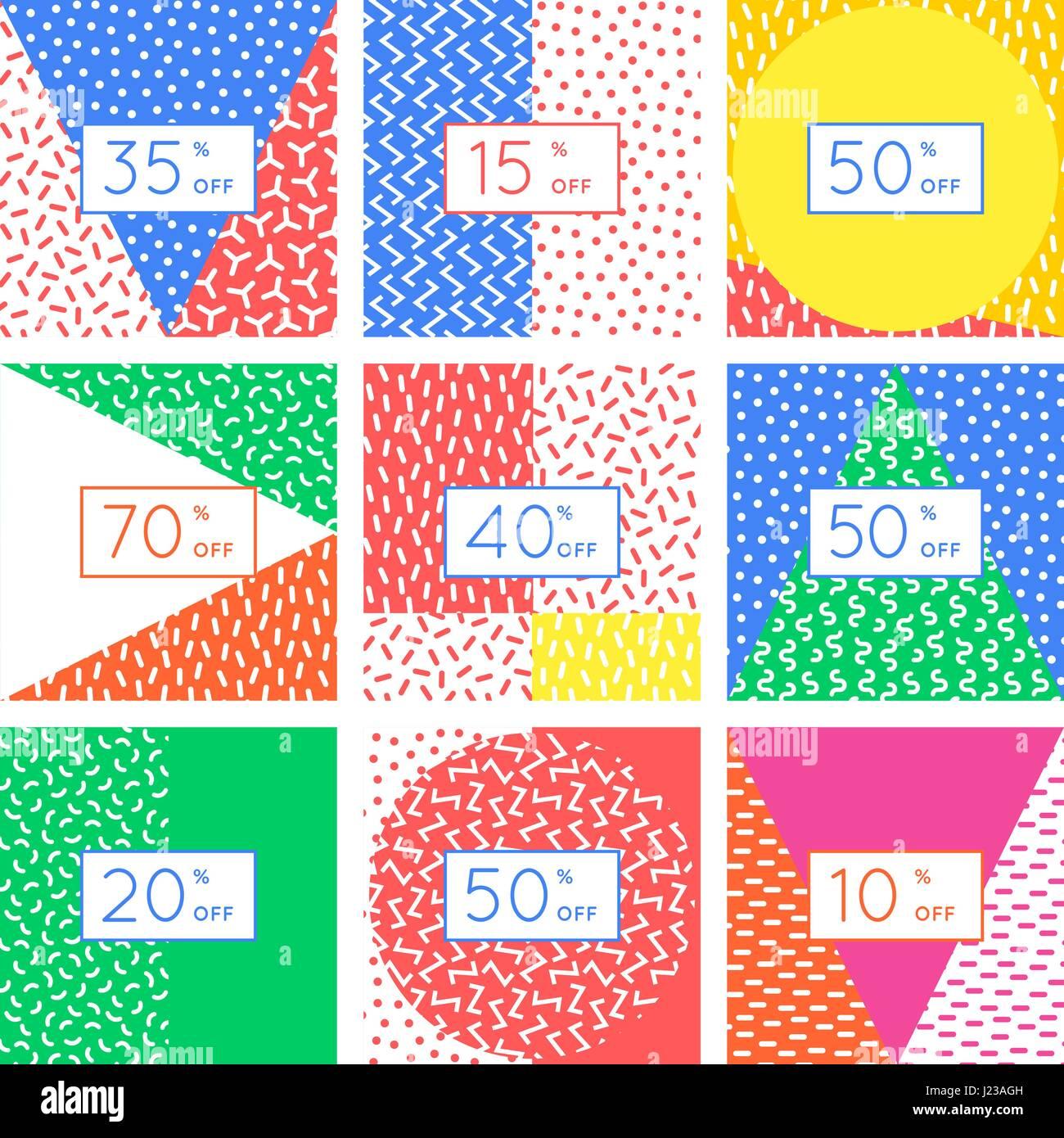 Rabatt-Tag-Karten-Design-Set. Abstrakte geometrische Elemente ...