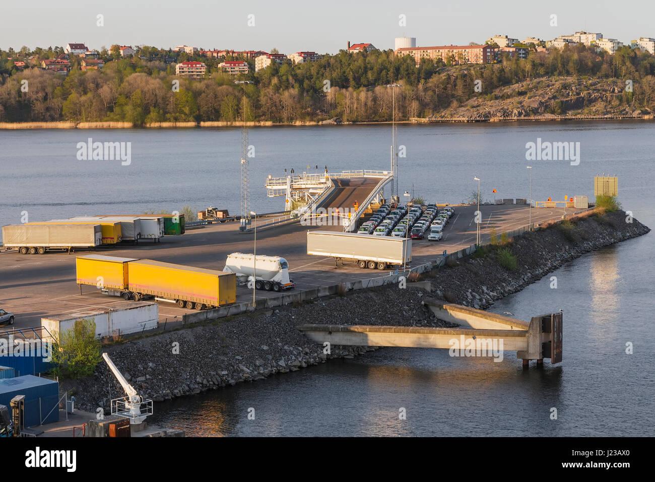 Laderampe für die Fähre. Stockholm. Schweden Stockbild