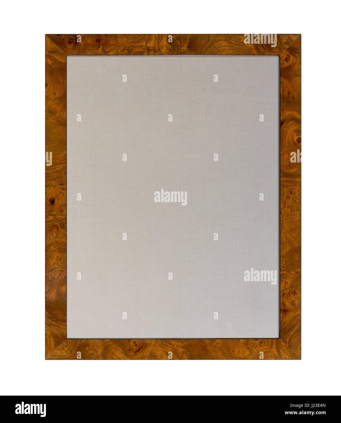 Tuch basierte Pinnwand oder Aushang im Inneren eines hölzernen Bilderrahmen isoliert auf weißem Hintergrund Stockbild