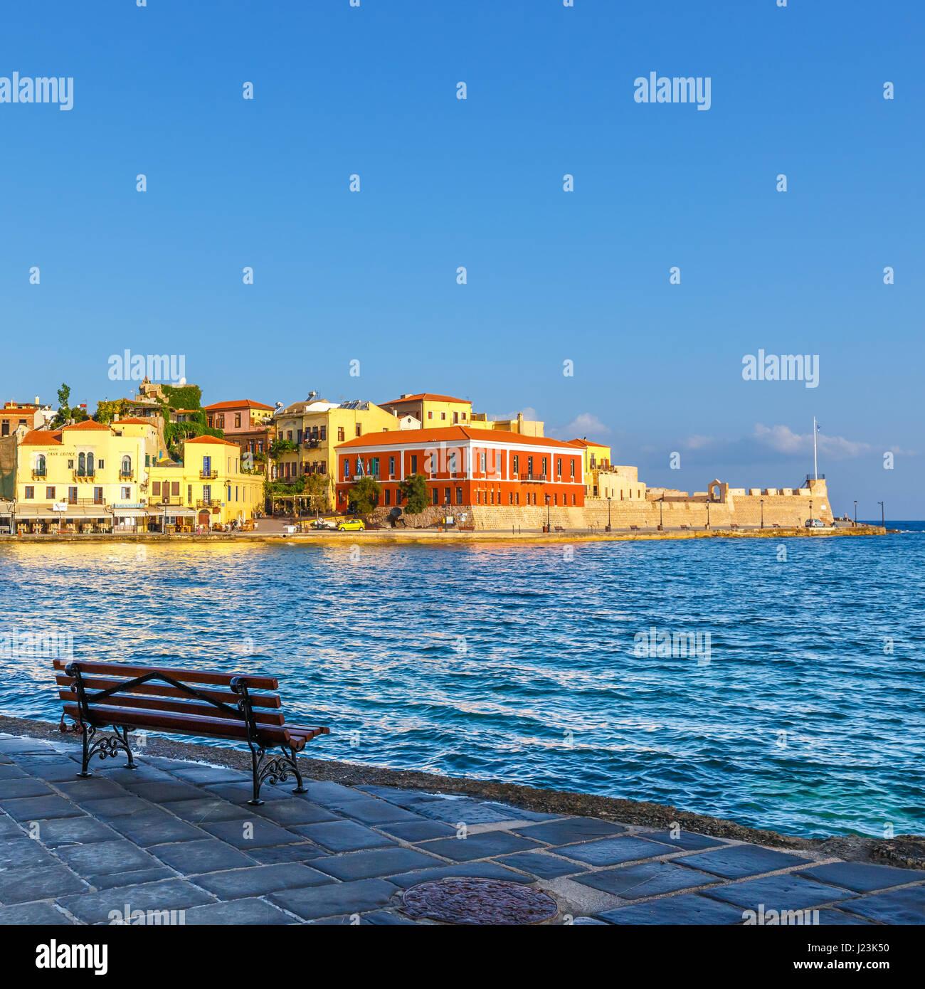 Chania Kreta 25 Maj 2016 Morgen Blick Auf Den Alten Hafen In