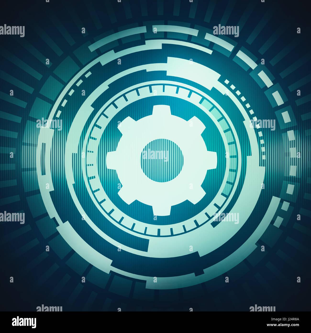 Abstrakte digitale Konzept Kreis Touchscreen mit Zahnrad-Symbol auf ...