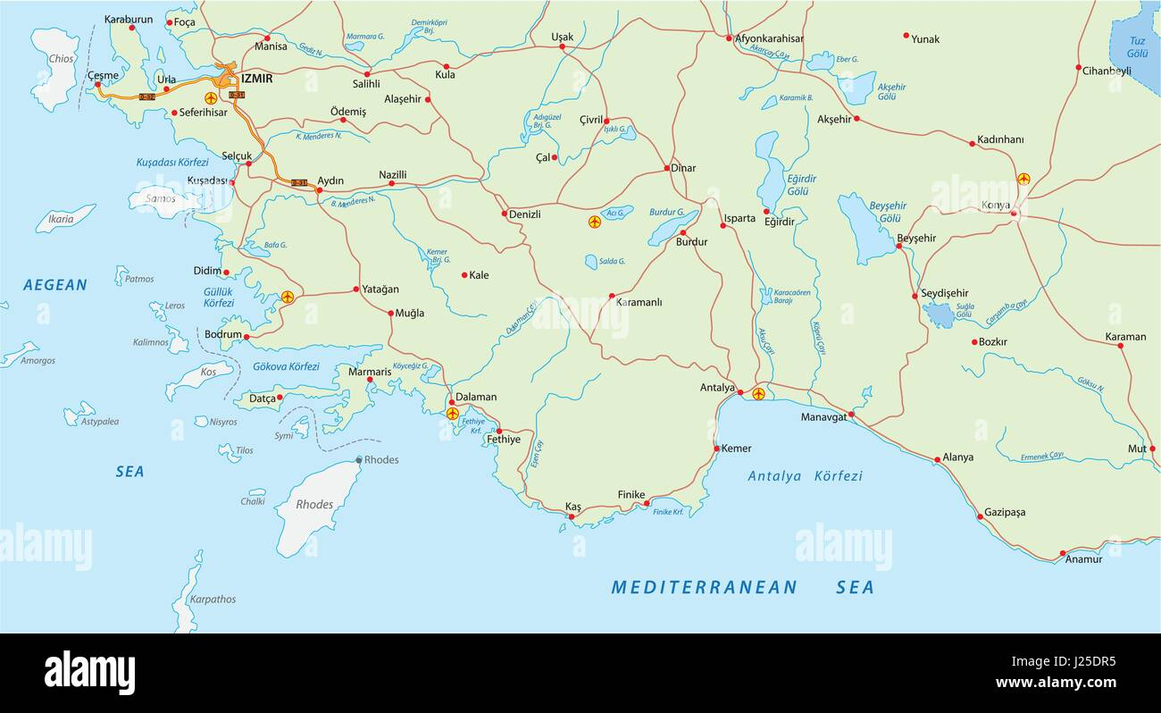 Türkische Riviera Karte.Türkische Riviera Karte Vektor Abbildung Bild 139032857 Alamy