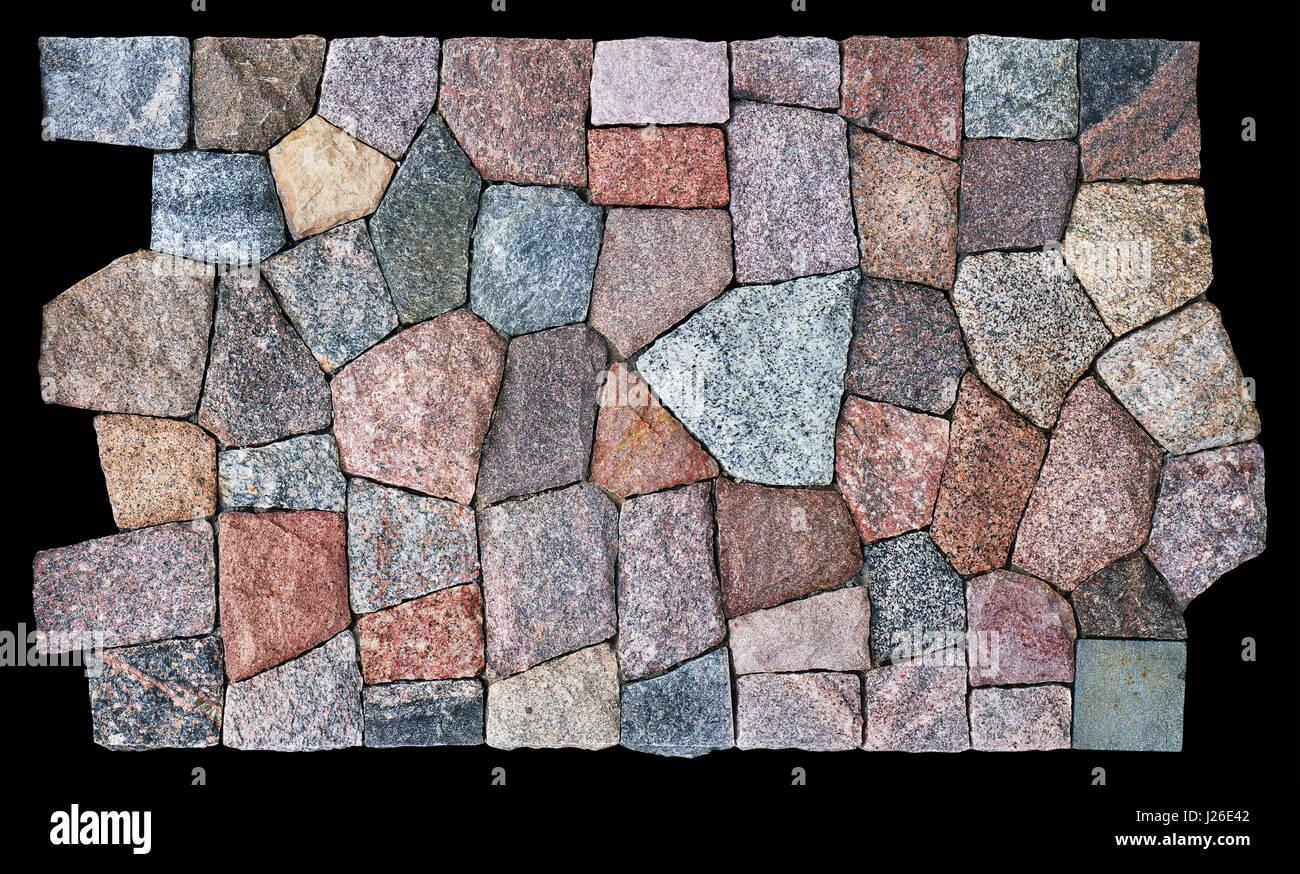 Der Flachbildschirm Ist Mit Einem Mosaik Aus Polygonalen Grob Bearbeiteten  Granit Fliesen Dekoriert. Isoliert Auf Schwarz