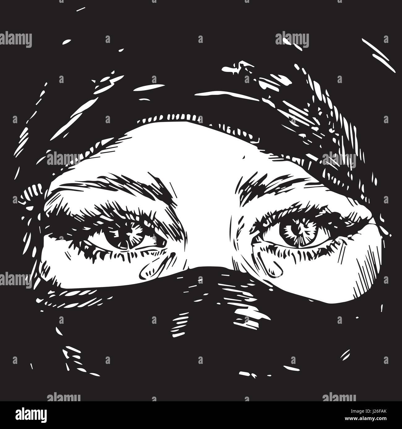 Das Schone Muslimische Madchen Weinen Gesicht Versteckt In Ein