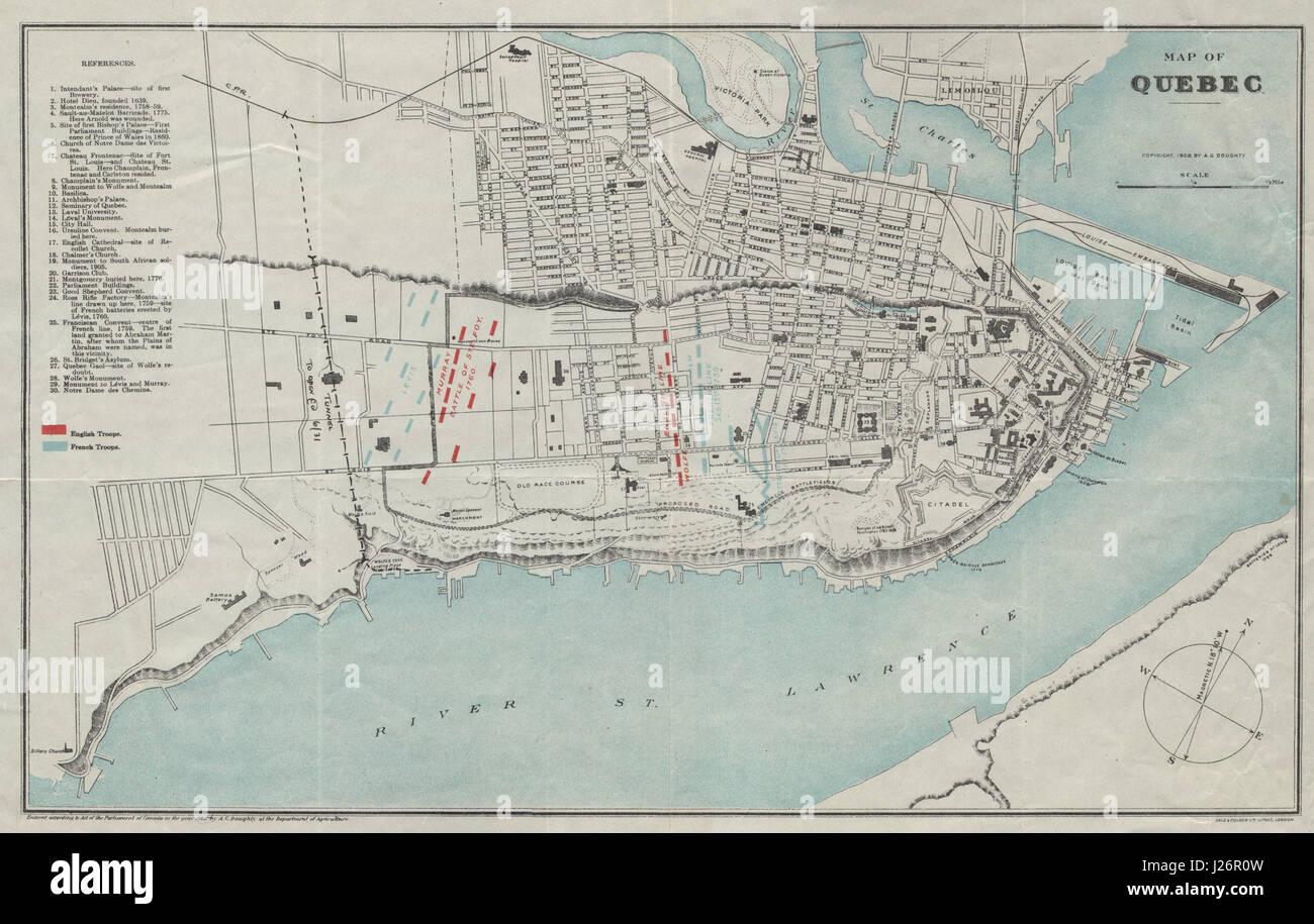 Quebec Karte.Quebec City Plan Ville De Québec 1759 60 Britisch Französische