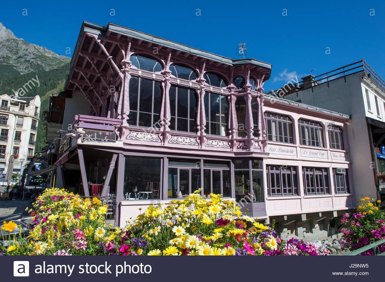 Cafe La Terrasse Chamonix France Stockfotos Cafe La Terrasse