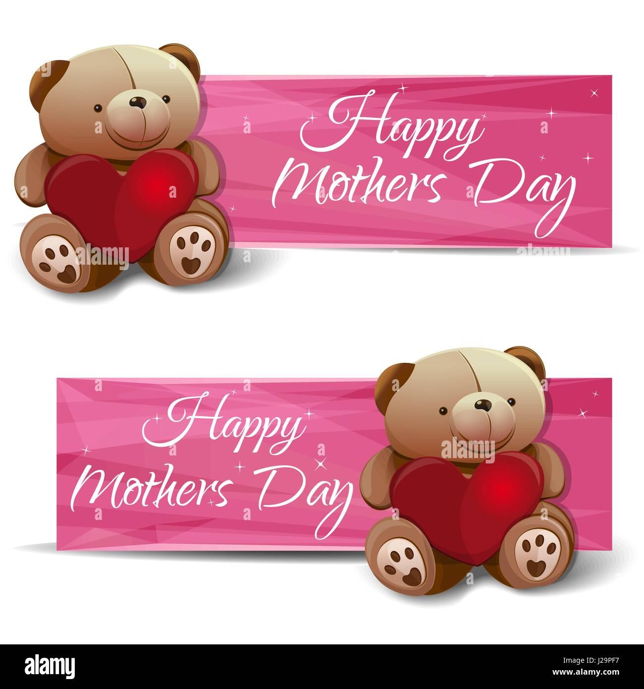 Glücklich Muttertag. Eingestellten Banner mit einem Teddybär, Herz ...