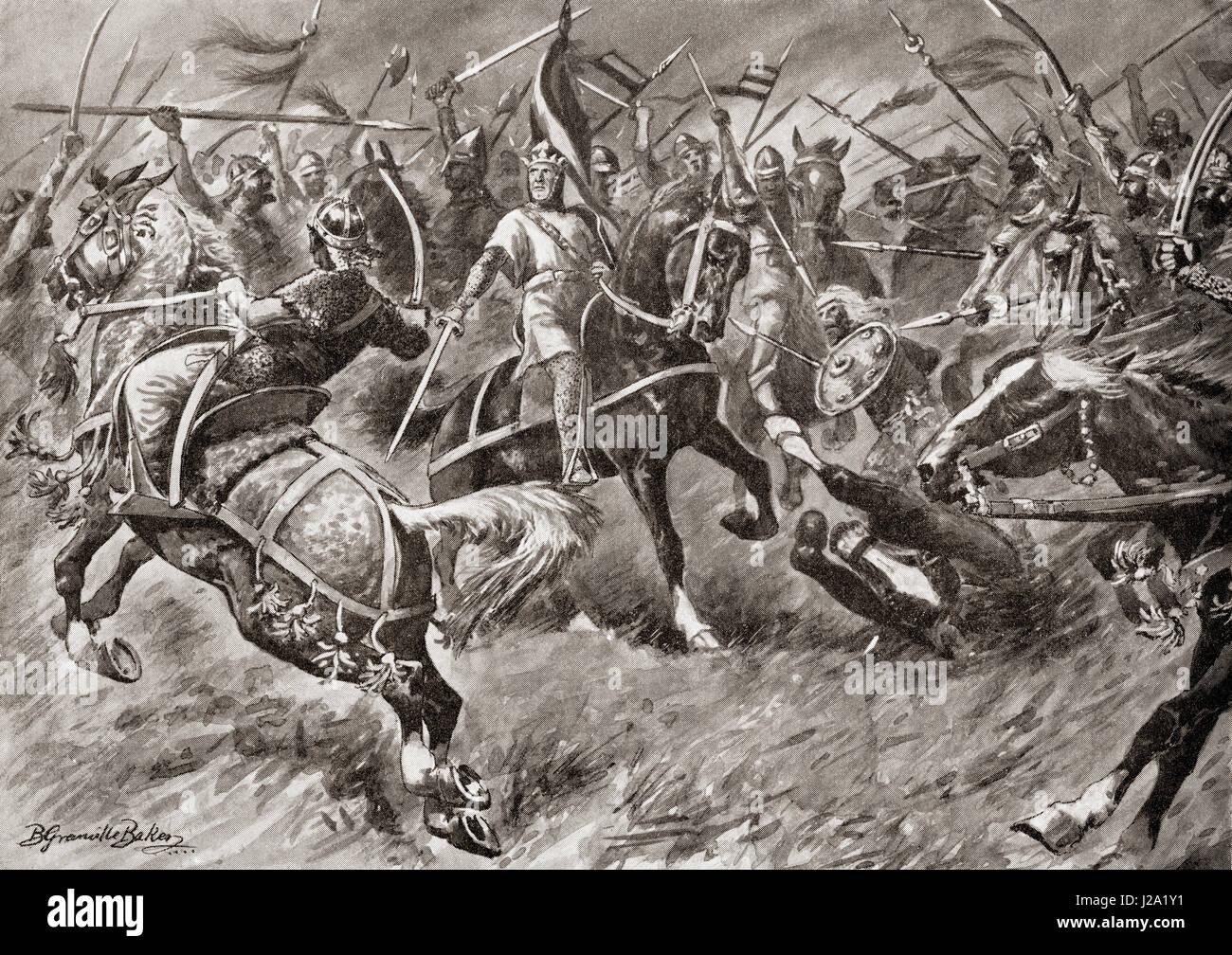 Alfonso von Aragon führt eine Armee gegen die Mauren im frühen 12. Jahrhundert. Alfonso I, C 1073-1134, Stockbild