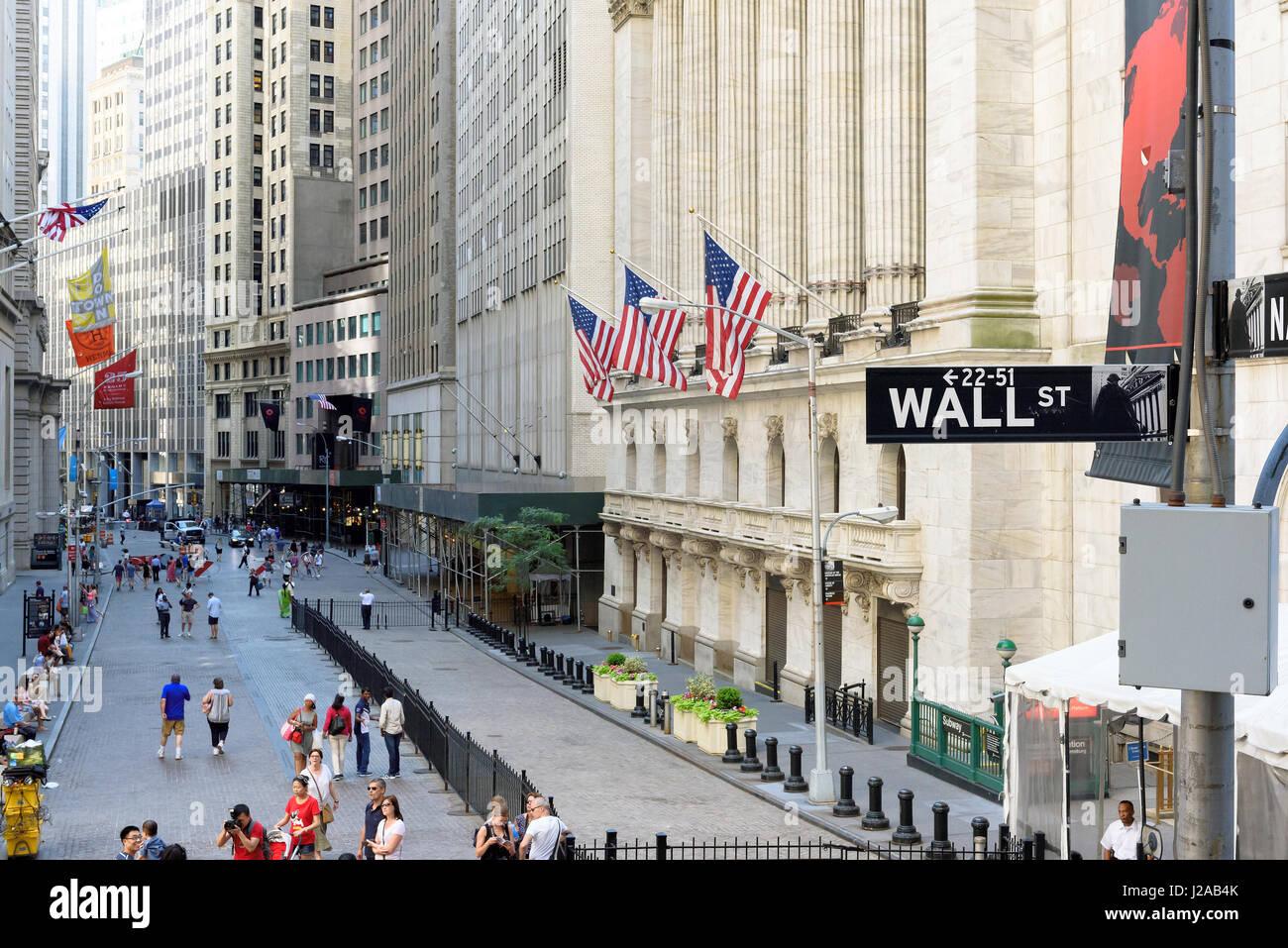 Der New Yorker Börse an der Wall Street in New York. Stockbild