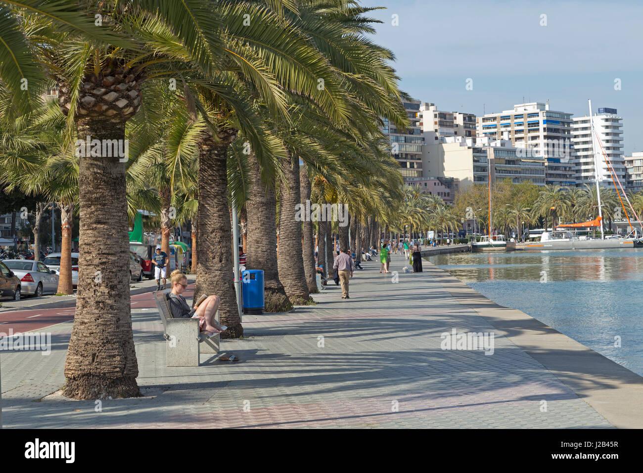 direkt am Meer in Palma De Mallorca, Spanien Stockbild