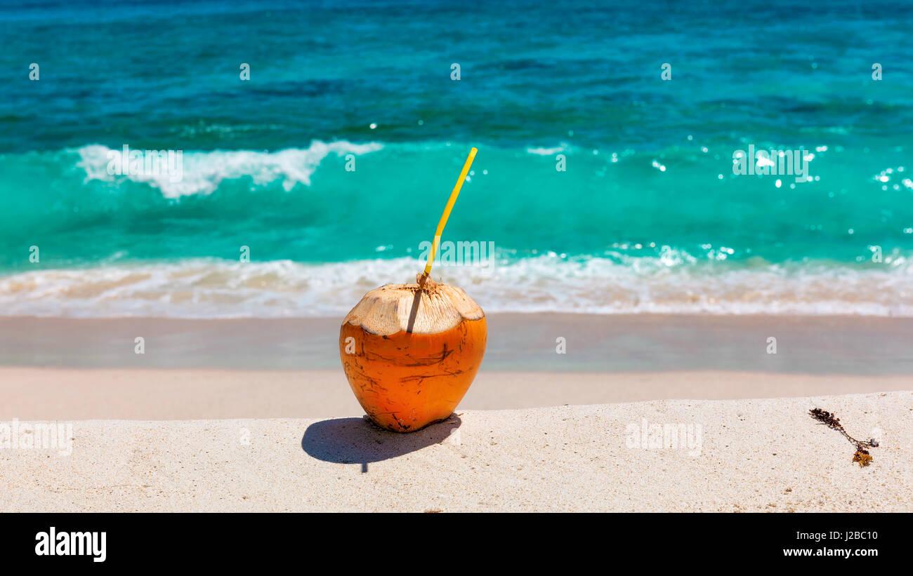 kokosnuss mit strohhalm zu trinken am tropischen strand stockfoto bild 139163164 alamy. Black Bedroom Furniture Sets. Home Design Ideas