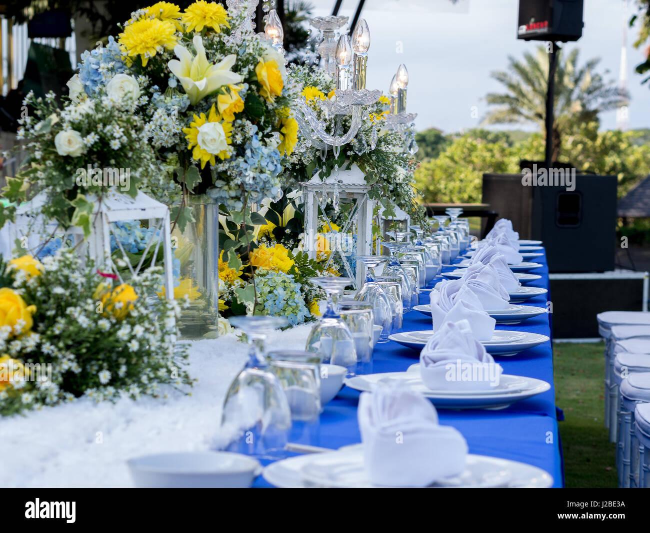 Bankett-Tisch-Set für Hochzeit Stockbild