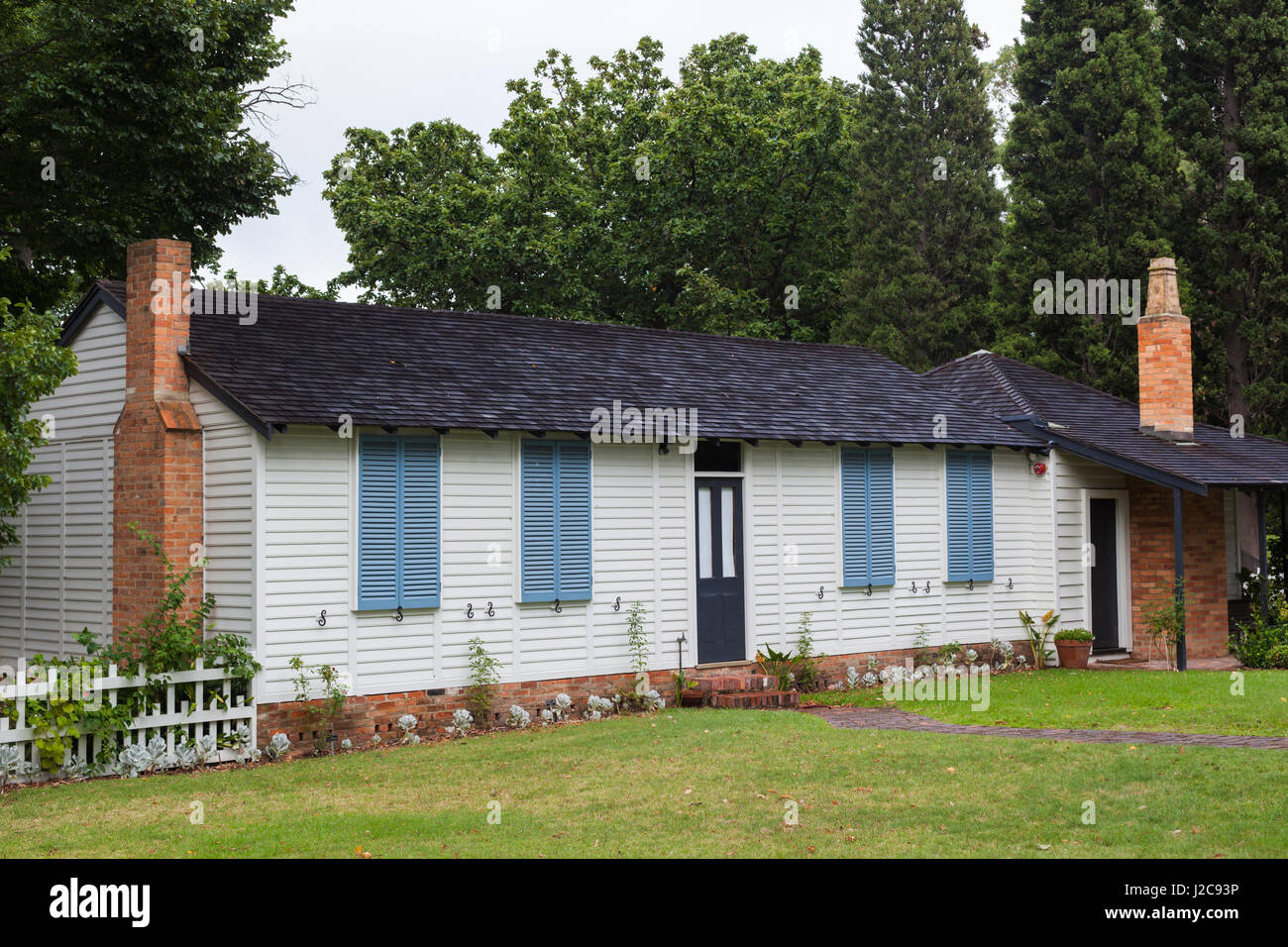 Australien, Victoria, Melbourne, Kings Domain Gouverneur La Trobe Cottage, original Regierungsgebäude von England Stockbild