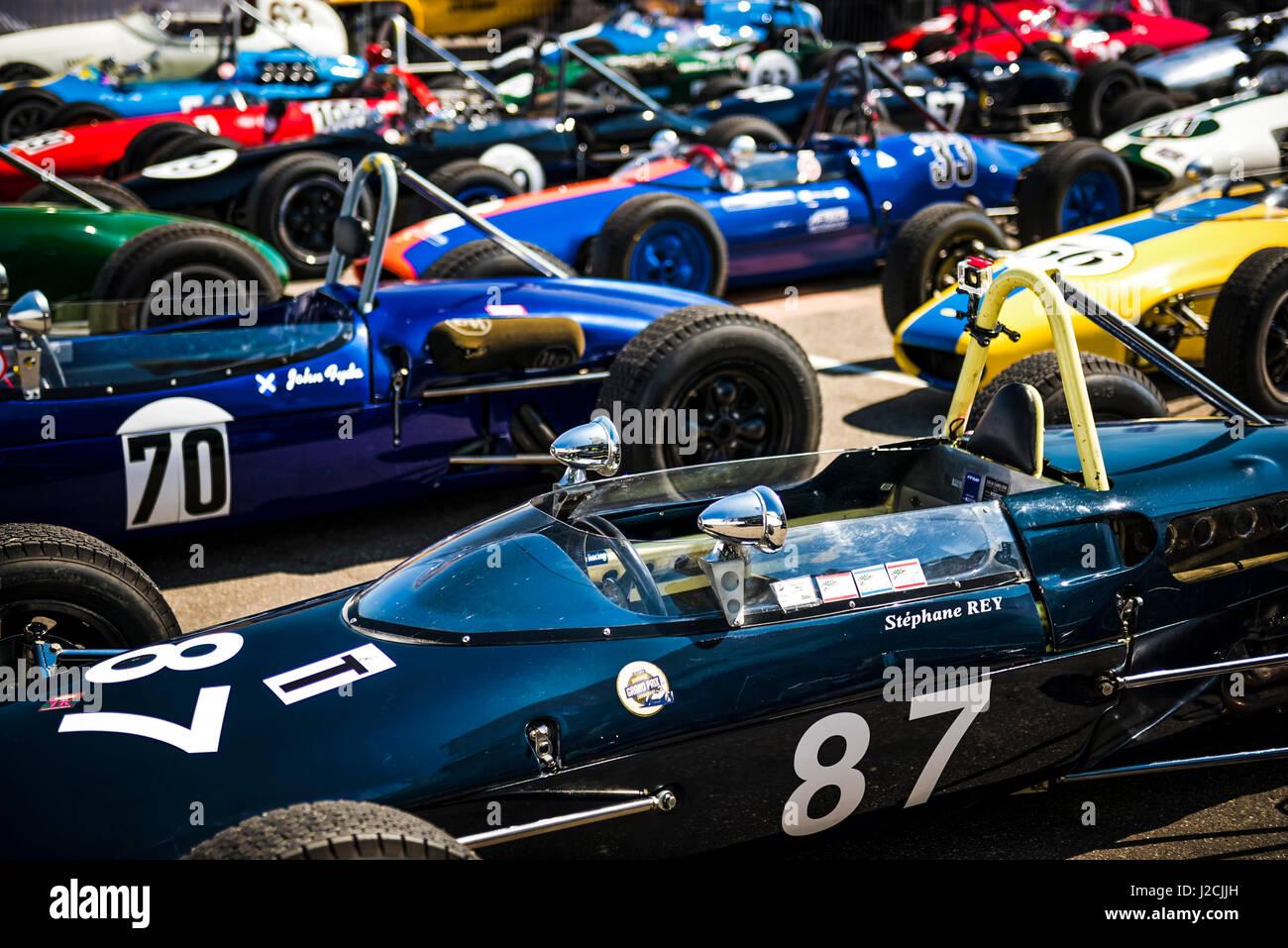 Klassische Formel-Autos - Parc Fermé Stockbild