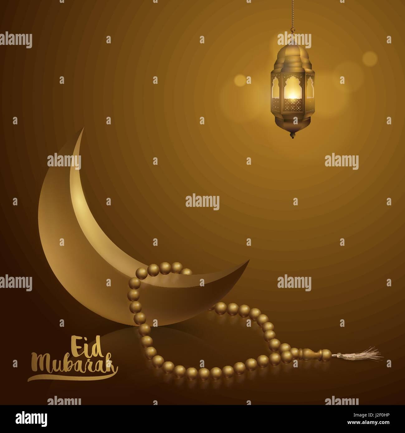 Eid Mubarak Grußkarte Vorlage islamischen Vektor Illustration ...