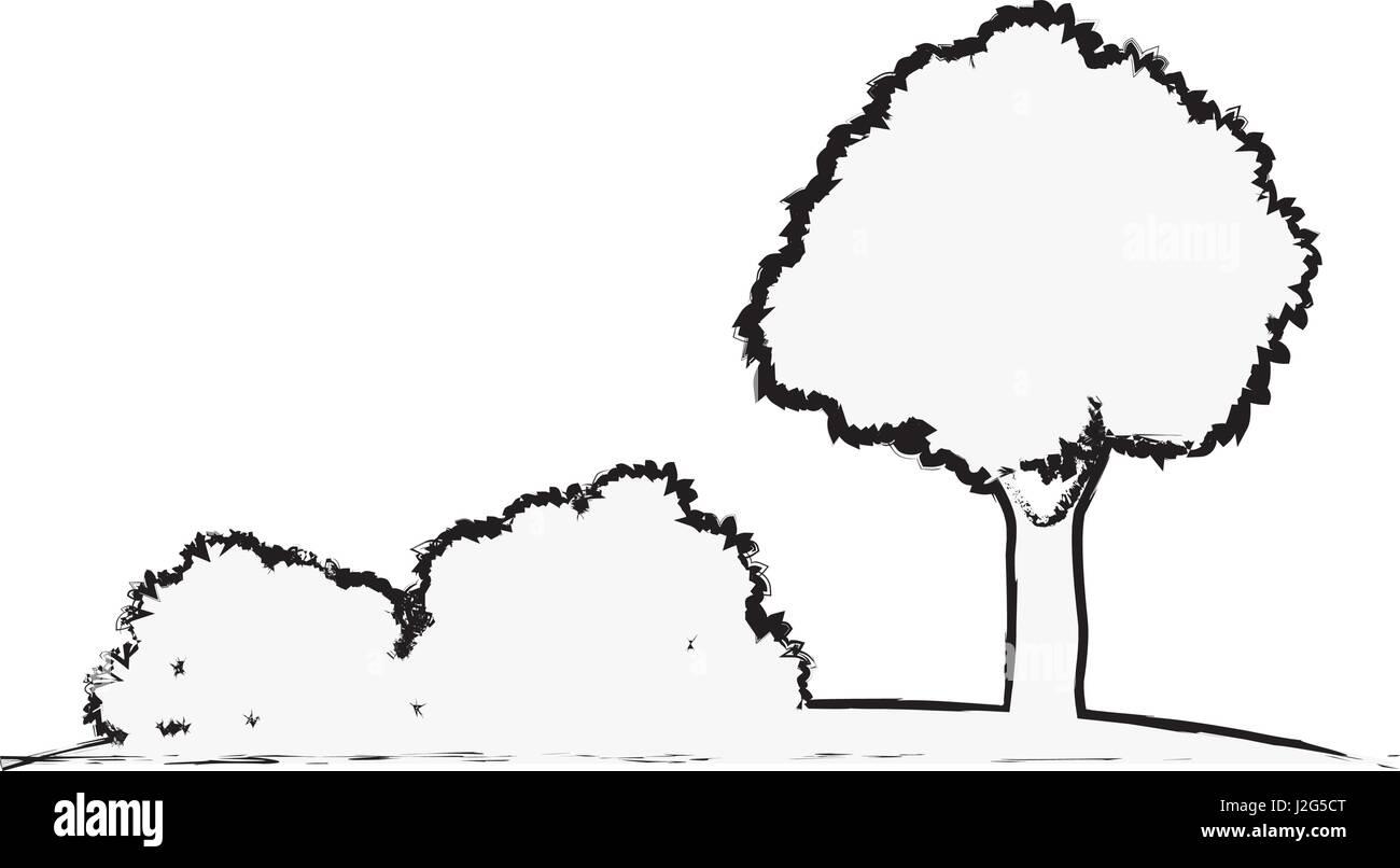 baum sträucher natürliche Ökologie skizze vektor abbildung - bild