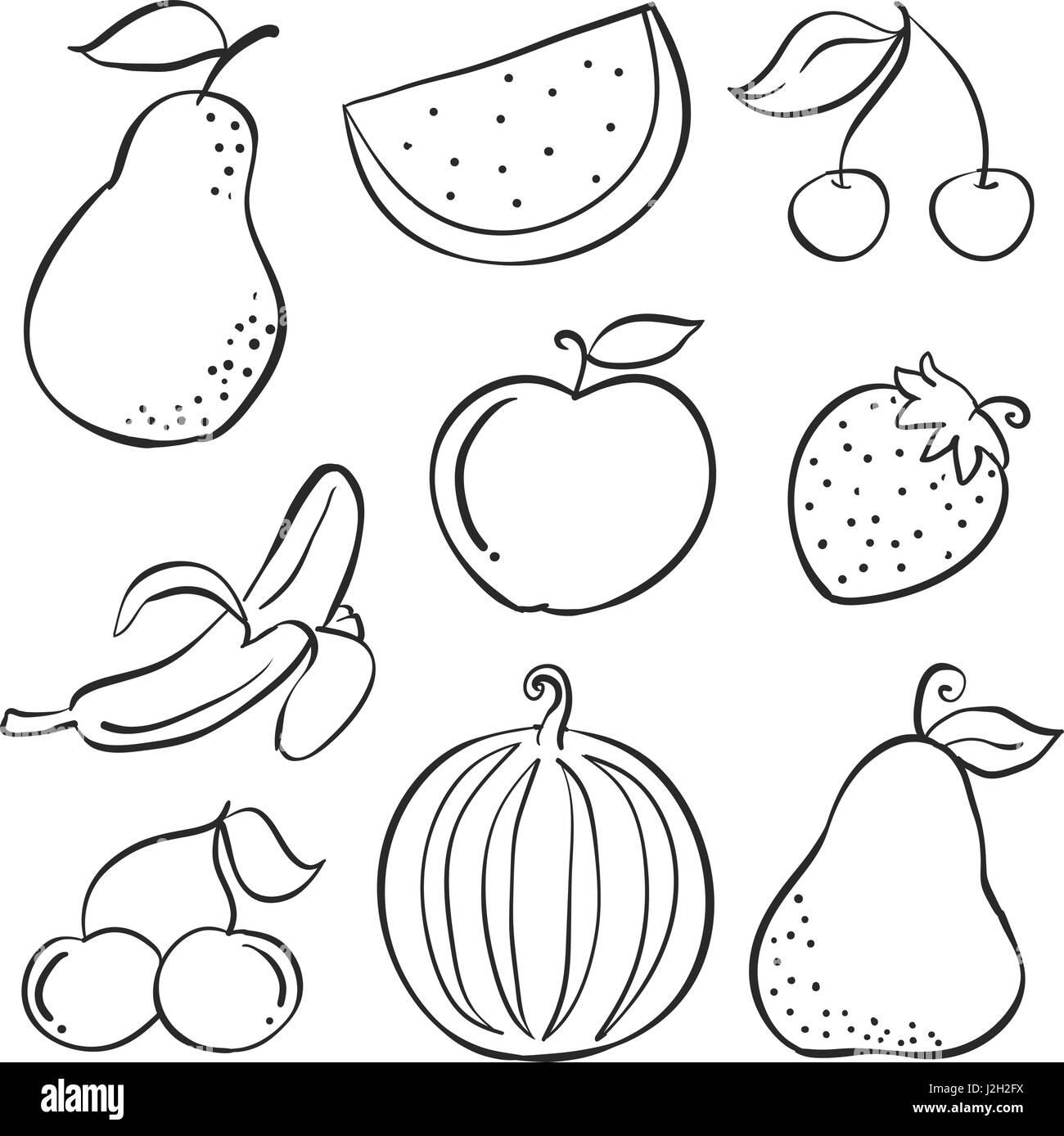 doodle von obst frische hand zeichnen vektorgrafiken stock