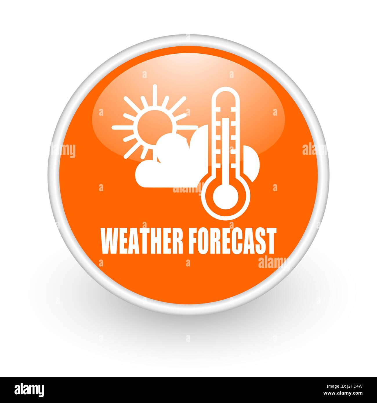 Wettervorhersage-modernes Design glänzend orange Web-Symbol auf weißem Hintergrund. Stockbild